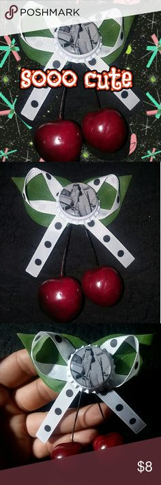 Rockabilly Pinup Bettie Page Cherry Bow NWT handmade  Cherry bow NO TRADES PRICE FIRM BUNDLE TO SAVE   #rockabilly #psychobilly #cherry #retro #pinup #bettiepage handmade Accessories Hair Accessories
