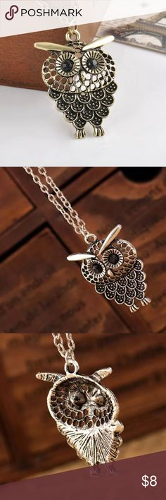 Owl Necklace New ~ metal based ~ open back ~ no trades Jewelry Necklaces