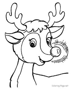 Christmas coloring book page - Rudolph's Glow