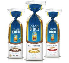 De Cecco, I Grani. The balance between the brand and the product description is well shown by the packaging of the bread. The ingredient is the only photo on the pack, to emphasize the importance of De Cecco's expertise in selecting the best grains.