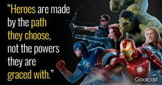 Marvel Iron Man Quote: Heroes are Made by The Path They Choose Avengers Quotes, Marvel Quotes, Avengers Imagines, Tattoo Iron Man, Iron Man Quotes, Iron Man Memes, Captain America Quotes, Signo Libra, Avengers Pictures