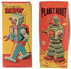 vintage space-age toy packaging typography.