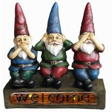 """There's no pal quite like a 11"""" Three Solar Gnomes, and this one is truly adorable. It features whimsical garden gnomes welcome you with a portrayal of the typical """"Hear, See, and Speak No Evil"""". Made of durable outdoor poly-resin and features a solar powered back lit """"Welcome"""" sign. Decorate your plot with these three per set little gnome, perfect addition to your collection of solar landscape lighting."""
