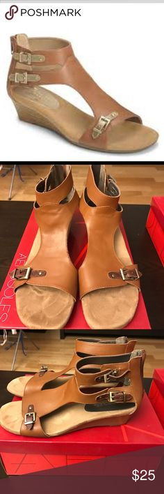 Yet Another Dark Tan Leather Wedges Very good condition, gently worn. Pic 1 stock photo, other pics actual item. AEROSOLES Shoes Wedges