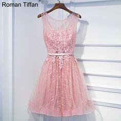 Vestido de festa roman tiffan prom dresses sexy illusion krótki lace-up konferencyjne party dress bez rękawów aplikacje robe de wieczór