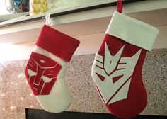 Stockings with a Transformers theme.... I want these for xmas