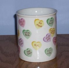 Vintage Valentines Candy Hearts Coffee Tea Mug by WestbrookFarm