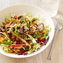 I'm always looking for new salad recipes, especially when the weather starts to warm up. This sesame-ginger chinese chicken salad from Weight Watchers tastes as good as it looks. I used about half the oil and doubled the vinegar to fit our taste preference. It's only six points plus for a two cup serving if you're following the Weight Watchers plan.