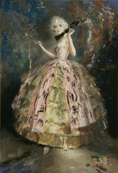 Everett Shinn (American 1876-1953) - Masquerade, 1924. via    Pastel on paper mounted on board