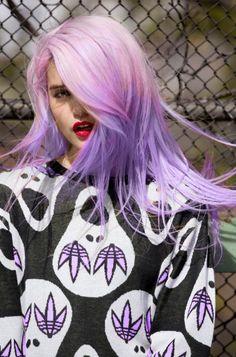 Pastel half pink half purple straight hair