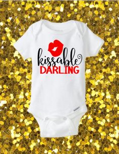 Kissable darling Onesie, Valentines Onesie, Cute Onesie, Glitter Onesie, Valentine's Day Onesie, Valentine's Day Outfit, First Valentines, by kreationsbychristine on Etsy (null)