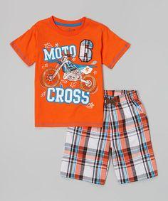 Look at this #zulilyfind! Orange 'Motocross' Tee & Plaid Shorts - Toddler & Boys #zulilyfinds