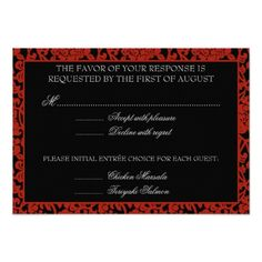 Gothic Wedding Invitations Gothic Floral Red & Black Damask RSVP Monogram Card