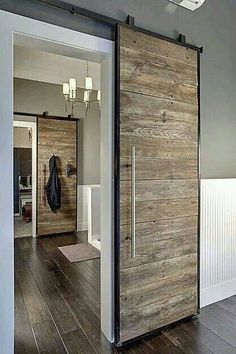 Sliding barn door design ideas for your home with mirror, window. Interior and exterior sliding barn door for your bathroom, bedroom, closet, living room. Style At Home, Barn Door Designs, Home Fashion, My Dream Home, Home Projects, Pallet Projects, Sewing Projects, Rustic Modern, Rustic Wood