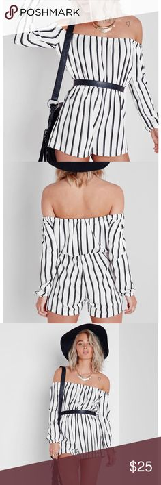 Black and white striped Bardot romper Like new in perfect condition only worn a couple times!!! Goes with literally anything perfect for any occasion! Fabric is super comfy and the waistband is stretchy so fit is super flexible. Bought from missguided similar style seen at free people urban outfitters sabo skirt topshop nasty gal zara princess polly Missguided Other