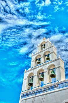 Photograph Church Bells in Santorini, Greece