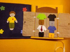 Quiet book boy dressing page, wardrobe