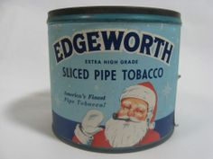 VINTAGE EDGEWORTH PIPE TOBACCO TIN W/ RARE SANTA CLAUS PAPER LABEL CHRISTMAS
