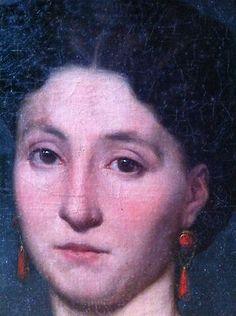 Huile Toile 19ème, Portrait Jeune Femme, Pendentifs,  Bijoux en Corail