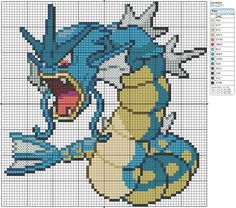 130 - Gyrados by Makibird-Stitching on DeviantArt Beaded Cross Stitch, Cross Stitch Charts, Cross Stitch Designs, Cross Stitch Embroidery, Cross Stitch Patterns, Pokemon Craft, Pokemon Go, Pokemon Gyarados, Pokemon Cross Stitch