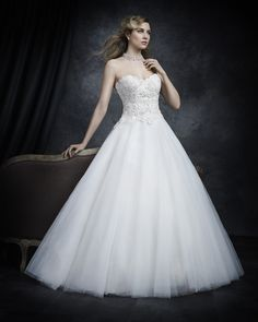 Glam wedding dress from @kenneth_winston style BE230    A two tone Embroidered All Over Venice lace provides interesting contrast of floral designs on the bodice and is finished with a full volume tulle skirt. Zipper back.