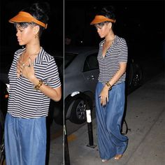 She topped her casual striped shirt and maxi skirt off with a leather Giorgio Baldi visor. Description from styleblazer.com. I searched for this on bing.com/images