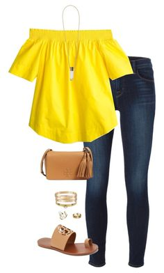 """""""yellow"""" by tessorastefan ❤ liked on Polyvore featuring J Brand, J.Crew, Tory Burch, Chloé, Kendra Scott, Hermès and Cartier"""