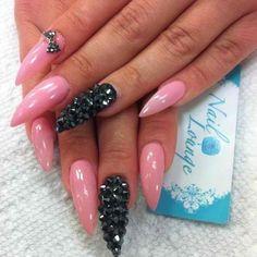 Pink,Black  Nails