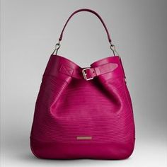 BURBERRY MEDIUM LEATHER STRIPES HOBO BAG BRIGHT RHUBARB PINK