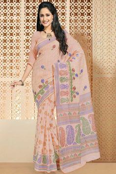 Apricot Orange Cotton Printed Casual and Party Saree Sku Code:68-4435SA421781 $ 30.00