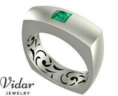 White Gold Princess Cut Green Emerald Wedding Ring,Unique Wedding Ring For Mens,Princess Cut Diamond Ring For Mens,Custom Wedding Band by Vidarjewelry on Etsy