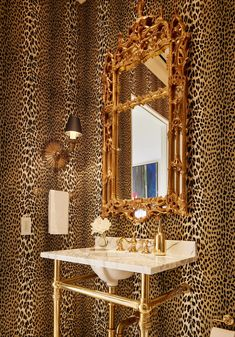 Stunning Interior Design by M Interiors. Stephen Karlisch is a top Interior Photographer who works with interior designers & brands across the USA. Learn more here! #interiorphotography #interiordesign Pierre Frey, Leopard Bathroom, Leopard Print Wallpaper, Hollywood Regency Decor, Living Styles, Bathroom Wallpaper, Interior Photography, Dream Bathrooms, Traditional Bathroom