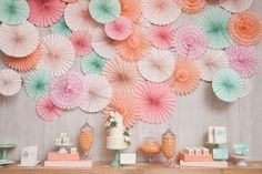 bridal shower inspiration, pinwheel dessert backdrop, peach pink and mint
