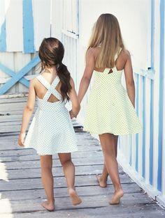 inspiration: GIRLS LINEN SMALL DOT WRAP DRESS -  Oscar de la Renta $165 (i can make that!)