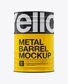 200L Metal Barrel Mockup