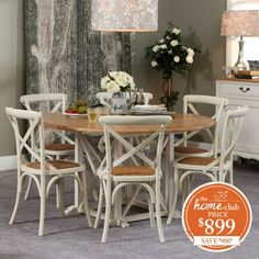 Provincial Oak Round Table White with 6 Cross Back Chairs Vintage White Package