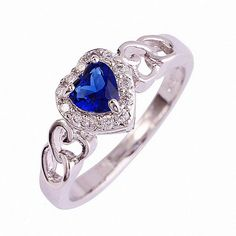 Charming Ring silver heart-shaped blue Austrian crystal finger ring engagement gift for women  Top quality #Affiliate
