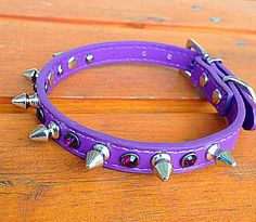 Spiked Dog Collar   Size Small:  Purple Vegan by ToxifyDesigns
