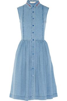 Preen Line Alabama embroidered chambray shirt dress Wear yours with flat sandals for a casual daytime look. Collar Dress, Ruffle Collar, Light Blue Dresses, Long Shirt Dress, Chambray Dress, Light Denim, Embroidery Dress, Spring Outfits, Dress Skirt