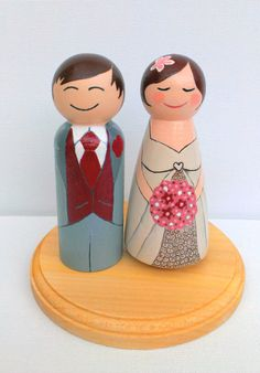 Peg People Wooden Hand-painted Custom Wedding Cake Topper Doll. £80.00, via Etsy.