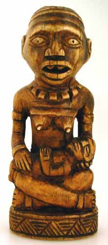 """Yombe Ivory Pfemba Sculpture - PF.4258 (LSO)  Origin: South-Western Congo  Circa: 19 th Century AD to 20 th Century AD  Dimensions: 6.25"""" (15.9cm) high x 2.5"""" (6.4cm) wide  Collection: African  Medium: Ivory"""