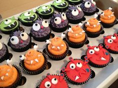 These are the cupcakes for Jes's birthday party. We went and saw Hotel Transylvania with her friends! Cute monster cupcakes!