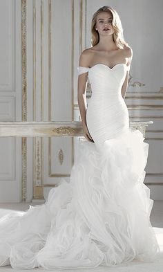 Attractive Tulle Off-the-shoulder Neckline Mermaid Wedding Dress With Pleats & Ruffles