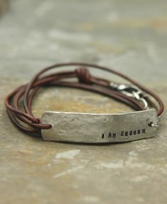 I Am Enough Inspirational Leather Wrap Bracelet