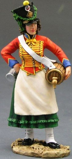 Napoleon's Grande Armee NA124 French Cantiniere - Made by King and Country Military Miniatures and Models. Factory made, hand assembled, painted and boxed in a padded decorative box. Excellent gift for the enthusiast.