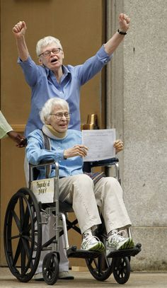 The girls who wantonly threaten the very foundations of Our Society do it while using a variety of wheels -- in NYC, 2012, Phyllis Siegel, 76, top, exits the City Clerks Office with Connie Kopelov, 84, after they left as the first gay couple legally married in Manhattan. They have been together for 23 years.