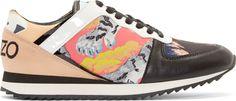 Kenzo - Orange Tiger Print Sneakers