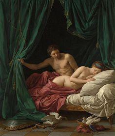 """""""Vênus e Marte, uma Alegoria da Paz"""" , Louis-Jean-François Lagrenée, 1770. Os deuses do amor e da guerra prestes a copularem)."""