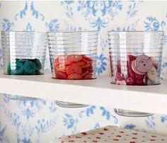 60 DIY Organization Hacks - Beverage Glass Button Storage   Easy Home Organization Ideas.