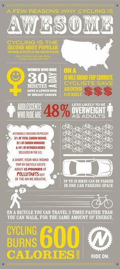 A few reasons why cycling is AWESOME #infographic
